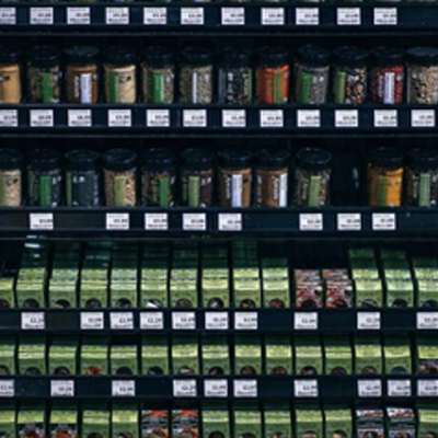 A shelf of spices